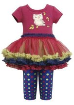 Bonnie Jean Baby Girls 3M-24M Magenta Blue Owl Applique Tutu Dress/Legging Se...