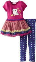 Bonnie Jean Girls 2-6X Owl Tutu Legging Set (4T, Magenta) [Apparel]