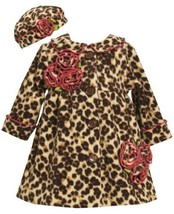 Bonnie Baby Baby-Girls Infant Leopard Fleece Coat and Hat Set BR1MH, Brown