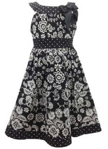 Black White Floral and Dot Print Bow Neckline Dress BW3FR,Bonnie Jean Little ...