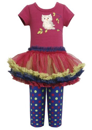 Magenta Blue Owl Applique Tutu Dress / Legging Set MG3FR,Bonnie Jean Little G...