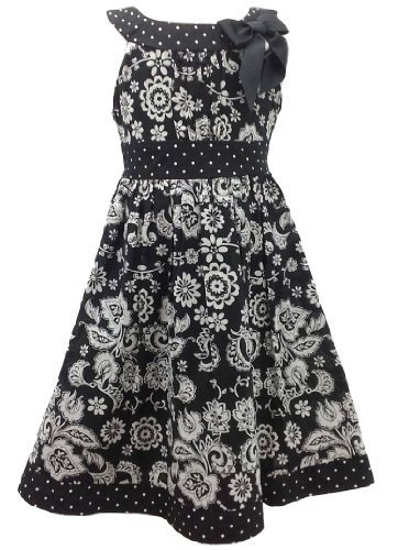 Black White Floral and Dot Print Bow Neckline Dress BW3FV,Bonnie Jean Little ...