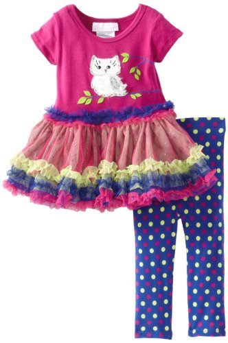 Bonnie Baby Baby Girls' Owl Tutu Legging Set, Magenta, 12 Months [Apparel] Bo...