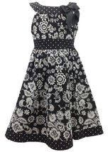 Black White Floral and Dot Print Bow Neckline Dress BW3SI,Bonnie Jean Little ...
