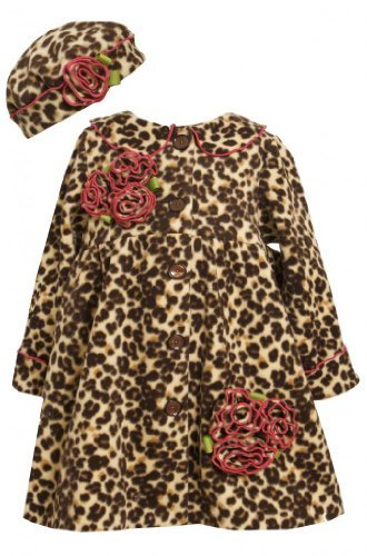 Brown Leopard Print Rolled Rosette Fleece Coat / Hat Set BR2FR,Bonnie Jean To...