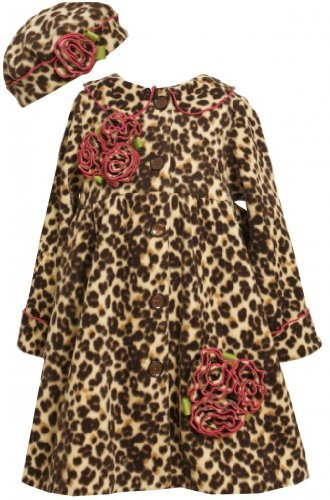 Brown Leopard Print Rolled Rosette Fleece Coat / Hat Set BR3FR,Bonnie Jean Li...