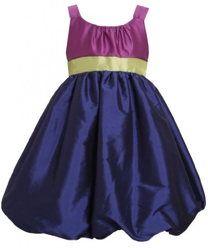 Purple Blue Green Colorblock Taffeta Bubble Dress PU3SI,Bonnie Jean Little Gi...