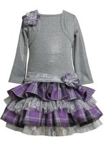 Grey/Purple Tiered Plaid and Lace Mock Twofer Dress GY2TW,Bonnie Jean Todders...