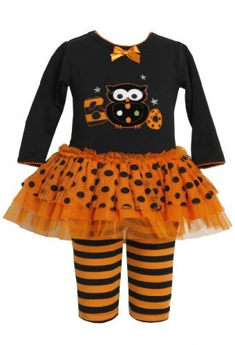 Orange Black Boo Owl Applique Dress / Legging Set OR0NN,Bonnie Jean Baby-Newb...