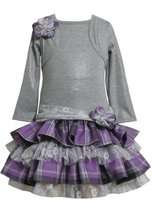 Grey/Purple Tiered Plaid and Lace Mock Twofer Dress GY2HA,Bonnie Jean Little ...