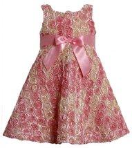 Pink Ombre Metallic Bonaz Rosette A-Line Taffeta Dress PK2FR,Bonnie Jean Todd...