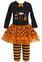 Orange Black 'Boo Owl' Applique Tutu Dress / Legging Set OR3SI,Bonnie Jean Li...