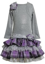 Grey/Purple Tiered Plaid Lace Mock Twofer Dress GY8FT,Bonnie Jean Girl Plus-S...