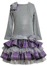 Grey/Purple Tiered Plaid Lace Mock Twofer Dress GY8FT,Bonnie Jean Girl Plus-S...
