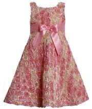 Pink Ombre Metallic Bonaz Rosette A-Line Taffeta Dress PK3SX,Bonnie Jean Litt...