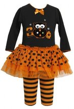Orange Black 'Boo Owl' Applique Tutu Dress / Legging Set OR2TW,Bonnie Jean To...