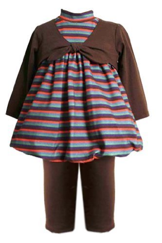 Size-24M BNJ-0409B 2-Piece BROWN MULTI STRIPED MOCK TIE BUBBLE Top/Dress and ...