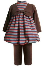 Size-2T BNJ-0409B 2-Piece BROWN MULTI STRIPED MOCK TIE BUBBLE Top/Dress and P...