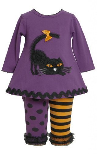 Purple Dimensional Black Cat Applique Dress / Legging Set PU0NN,Bonnie Jean B...