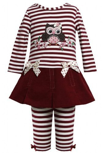 Burgundy-Red Sequin Owl Applique Dress / Legging set BU2FR,Bonnie Jean Todder...