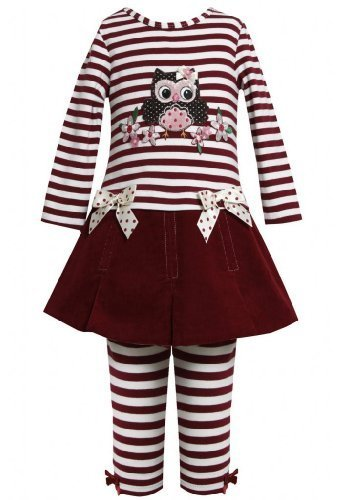 Burgundy-Red Sequin Owl Applique Dress / Legging set BU3FR,Bonnie Jean Little...