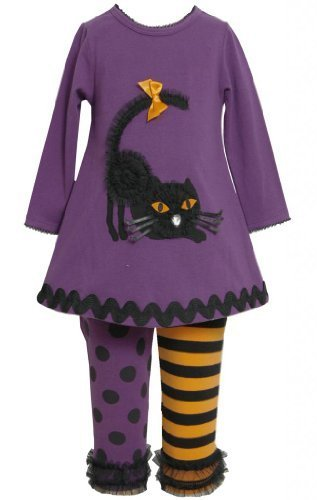 Purple Dimensional Black Cat Applique Dress / Legging Set PU3FR,Bonnie Jean L...