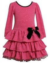 Pink Spangle Dot Fuzzy Knit Tiered Dress PK2TW,Bonnie Jean Todders Special Oc...