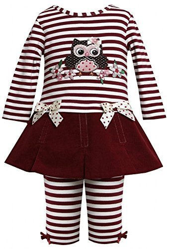 Baby Girls 3M-24M Burgundy-Red Sequin Owl Applique Dress/Legging set (0-3 Mon...