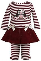 Baby Girls 3M-24M Burgundy-Red Sequin Owl Applique Dress/Legging Set (12 Mont...