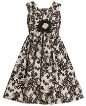 Ivory and Black Floral Print Shirred V-Bodice Dress IV3FV,Bonnie Jean Little ...