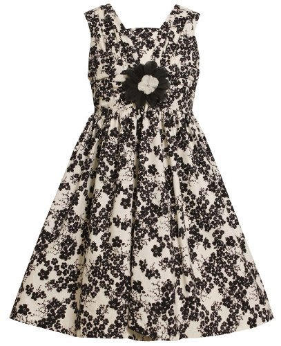 Ivory and Black Floral Print Shirred V-Bodice Dress IV3SI,Bonnie Jean Little ...