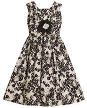 Ivory and Black Floral Print Shirred V-Bodice Dress IV3SI,Bonnie Jean Little ...
