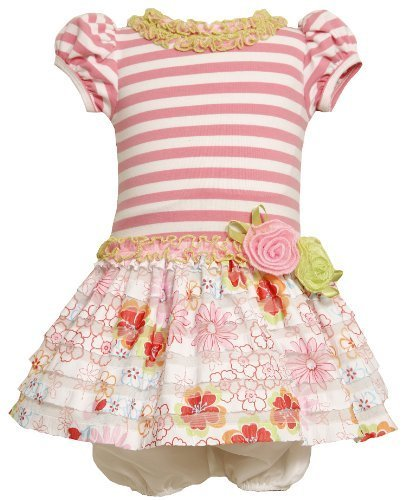 Bonnie Baby Girls' Knit Bodice To Drop Waist Print Ruffle Skirt, Pink, 12 Mon...