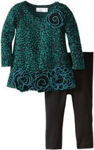 Bonnie Baby Baby Girls' Skin Print Knit Legging Set, Teal, 12 Months [Apparel...