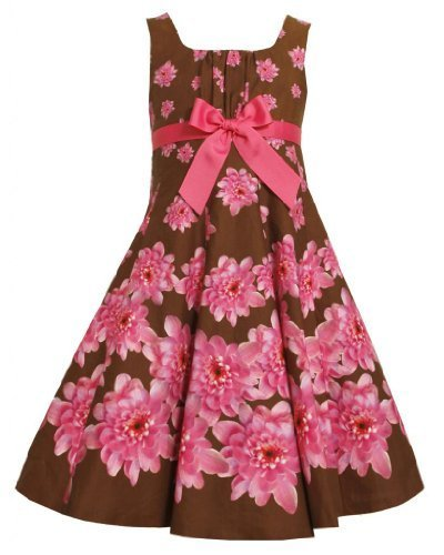 Brown Pink Fit-n-Flare Bow Front Floral Print Dress BR3FV,Bonnie Jean Little ...