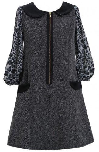Black Tweed and Pleather Exposed Front Zip Pocket Dress BK4SV,Bonnie Jean Twe...