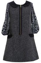 Black Tweed and Pleather Exposed Front Zip Pocket Dress BK4EG,Bonnie Jean Twe...