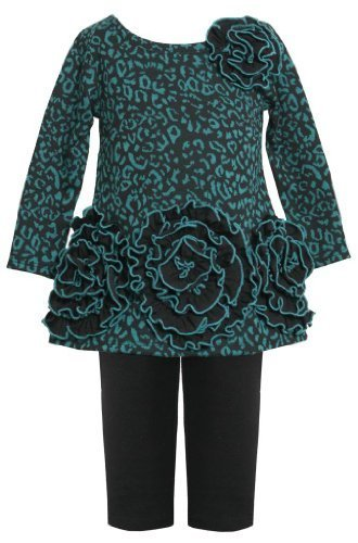 Teal Triple Rosette Border Ponte Knit Dress/Legging Set TL2HA, Bonnie Jean To...