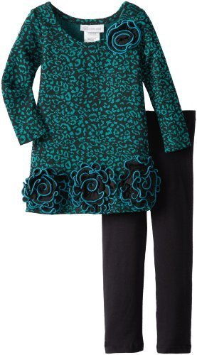 Bonnie Jean Little Girls' Skin Print Knit Legging Set, Teal, 2T [Apparel] Bon...