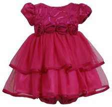 Fuchsia-Pink Sequin Bonaz to Double Tier Mesh Dress FU0CH Bonnie Jean Baby-Ne...