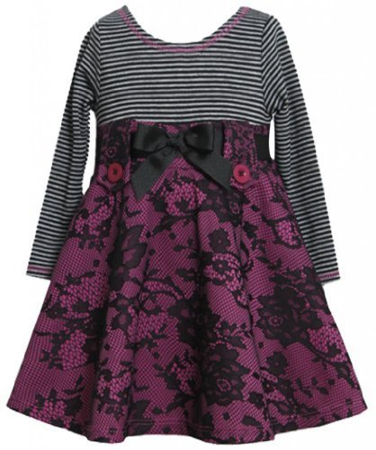 Magenta Black Pull-Thru Ribbon Lace Ponte Knit Dress MG2TW,Bonnie Jean Todder...