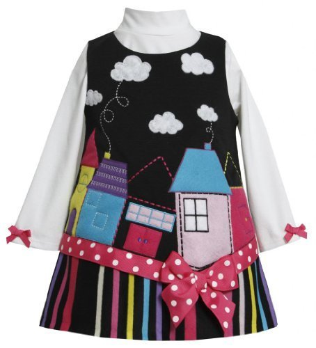 Bonnie Baby-girls Infant House Applique Corduroy Jumper BK1MH, Black [Apparel]