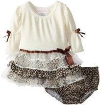 Bonnie Baby-girls Infant Fuzzy Leopard Tiered Dress IV1MH, Ivory [Apparel]