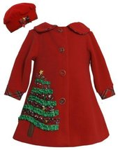 Red Sequin Holiday Tree Applique Fleece Coat / Hat Set RD1BU, Bonnie Jean Bab...