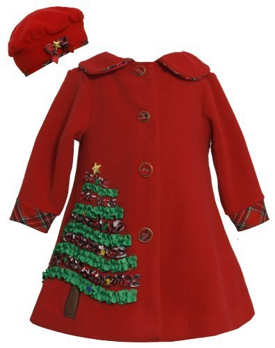 Red Sequin Holiday Tree Applique Fleece Coat / Hat Set RD2BU,Bonnie Jean Todd...