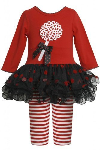Red Black Lollipop Applique Tutu Dress / Legging Set RD0SA Bonnie Jean Baby-N...