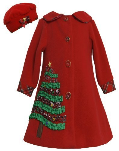 Bonnie Jean Girls 7-16 Red Sequin Holiday Tree Applique Fleece Coat / Hat Set...