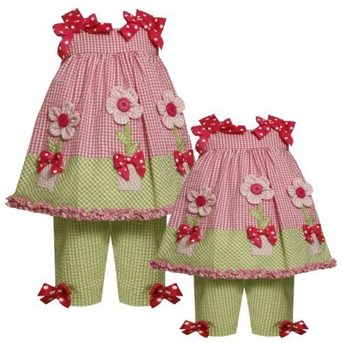 Size-18M BNJ-0683R 2-Piece PINK GREEN BUTTON-CENTER FLOWER POT APPLIQUE SEERS...