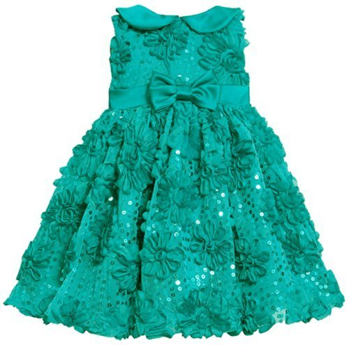 Teal Sequin Bonaz Soutache Mesh Overlay Dress TL1MH, Bonnie Jean Baby-Infant ...