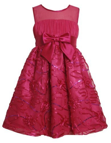 Fuchsia-Pink Sequin Soutache Illusion Neckline Mesh Dress FU3BA, Bonnie Jean ...